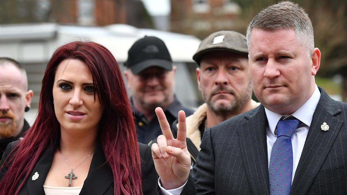 Paul Golding (R) and Jayda Fransen at Folkestone magistrates court in Kent on January 29, 2018. (AFP)