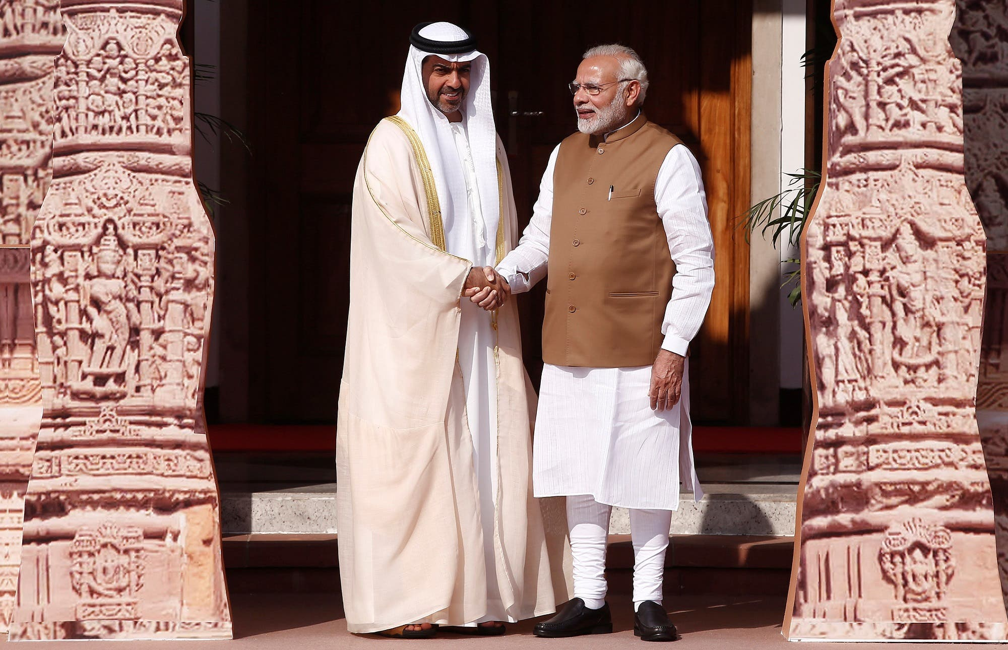 Narendra Modi with Sheikh Hamed Bin Zayed Al Nahyan, Chairman of the Crown Prince Court of Abu Dhabi in New Delhi on March 11, 2018. (Reuters)
