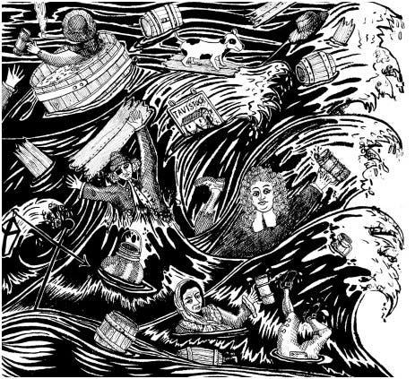 رسم ساخر حول فيضان البيرة بلندن عام 1814