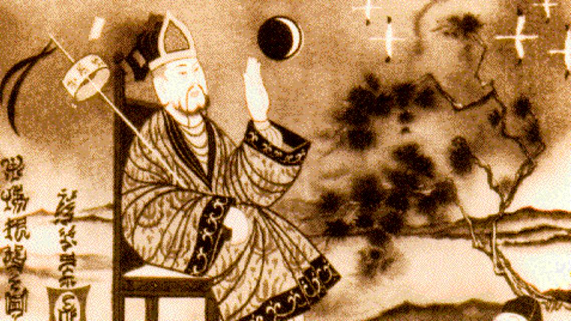رسم تخيلي للعالم الصيني فان هو خلال محاولته الإقلاع نحو الفضاء