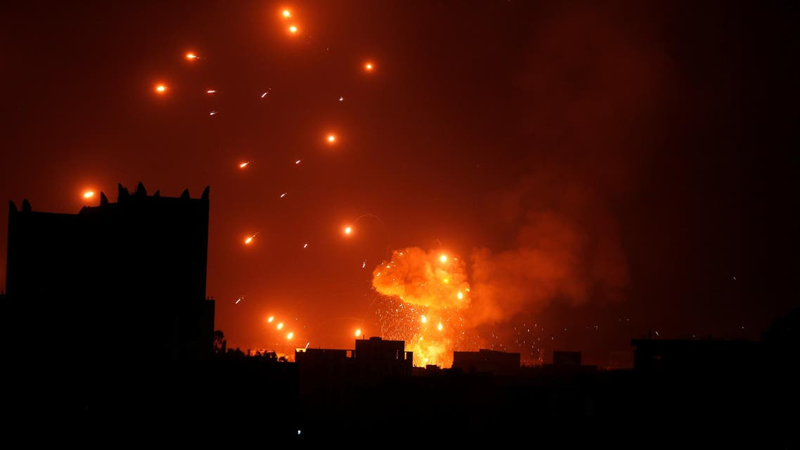 A Houthi arms depot explodes after it was hit by air strikes in Sanaa, Yemen January 31, 2018. (Reuters)