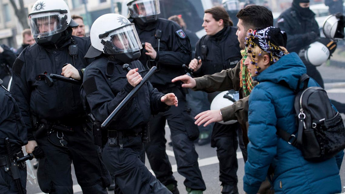 Police clash with demonstrators in Cologne, Germany Saturday, Jan. 27, 2018. (AP)