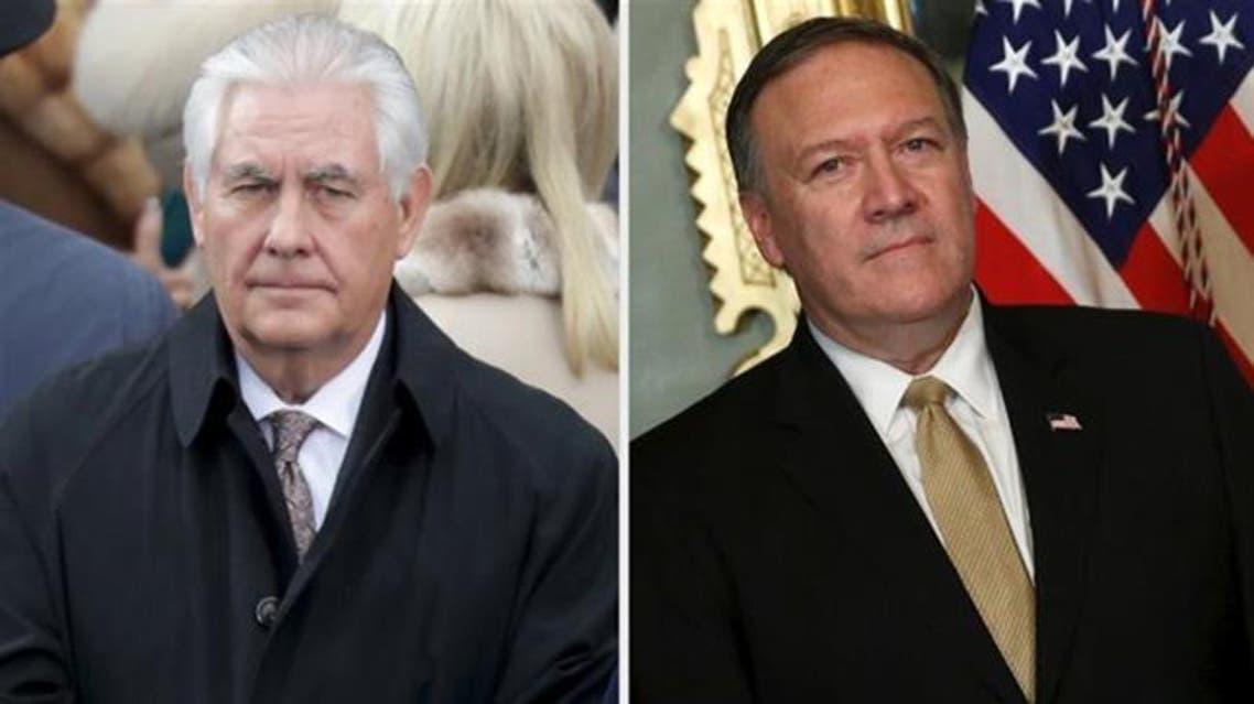 مایک پمپئو وزیر امور خارجه کنونی و رکس تیلرسون وزیر امور خارجه پیشین آمریکا