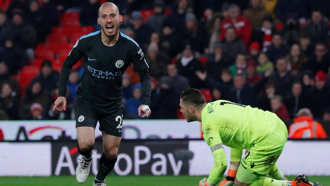 David Silva celebrates scoring second goal on March 12, 2018. (Reuters)
