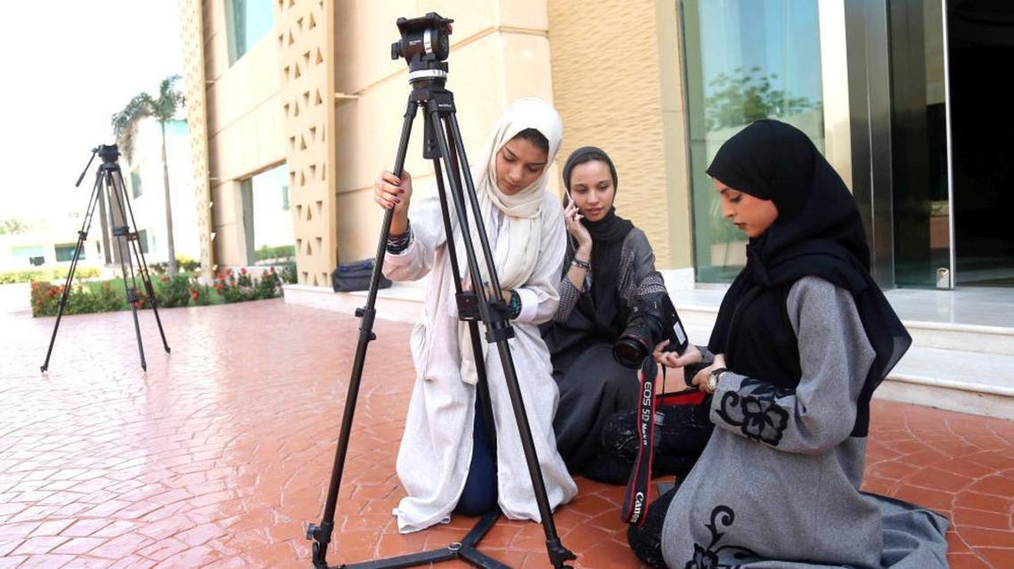 Saudi women study film making at a university in Jeddah. (Reuters)