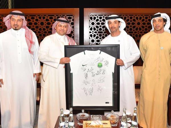 هزاع بن زايد يستقبل اتحاد القدم السعودي في أبوظبي