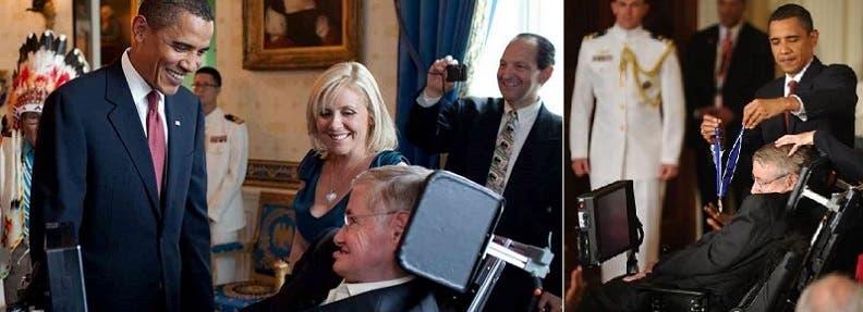 أوباما عاشق كبير لنظريات هوكينغ، وقلده في 2009 وساما