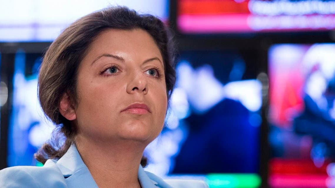 Margarita Simonyan, the head of the Russian television channel RT, listens to a question during her interview with the Associated Press in Moscow. (AP)
