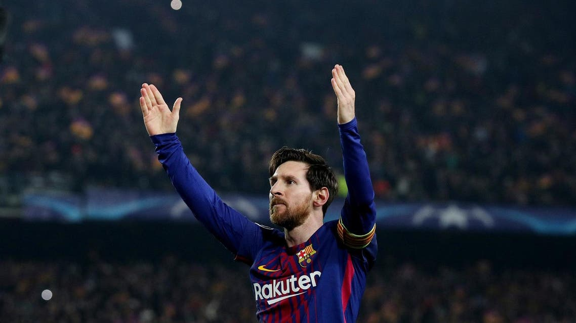 Barcelona's Lionel Messi celebrates scoring their third goal against Chelsea in the Champions League match on March 14, 2018. (Reuters)