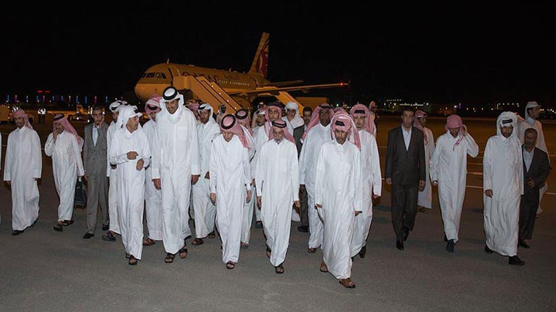 Emir of Qatar Sheikh Tamim bin Hamad Al Thani receives the released Qataris at Doha airport on April 21, 2017. (AP)