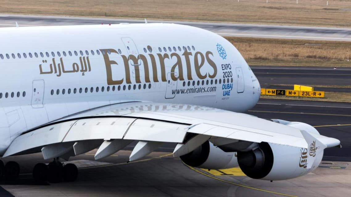 dusseldorf, nrw/germany - 04 03 18: emirates airbus a380 on ground at dusseldorf airport germany. (Shutterstock)