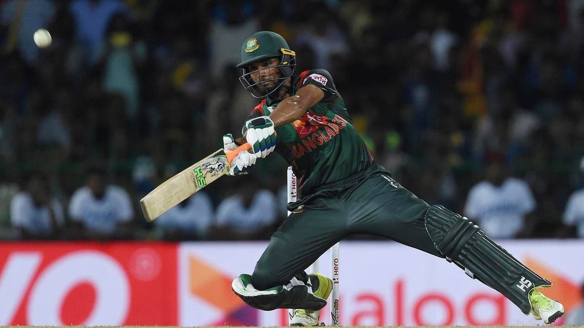 Bangladesh cricketer Mahmudull plays a shot during the T20 match between against Sri Lanka in the tri-nation Nidahas Trophy in Colombo on March 16, 2018. (AFP)
