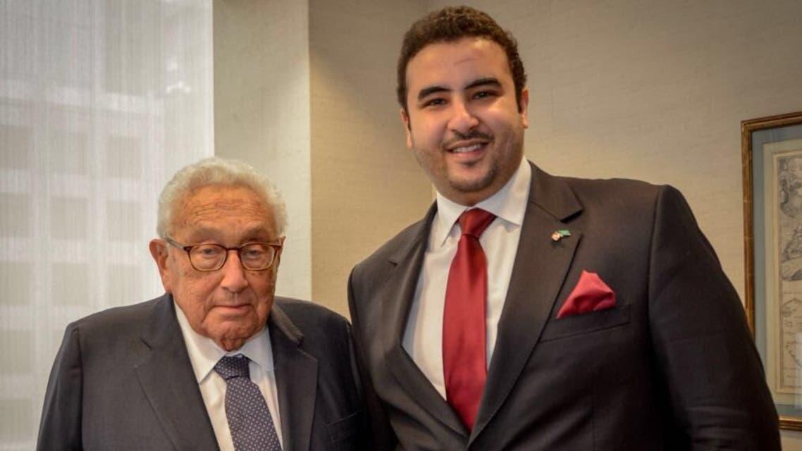 سفير السعودية في واشنطن الأمير خالد بن سلمان وهنري كيسنجر