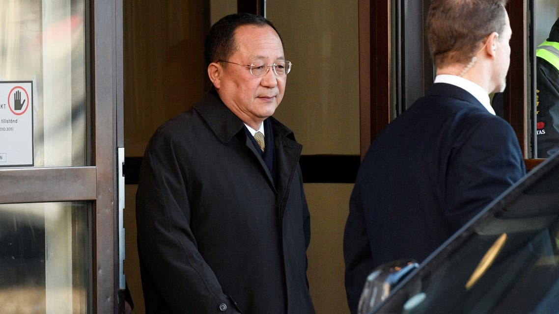 North Korean Foreign Minister Ri Yong Ho leaves the Swedish government building Rosenbad in Stockholm, Sweden, March 16, 2018. TT News Agency/Vilhelm Stokstad via REUTERS ATTENTION EDITORS - THIS IMAGE WAS PROVIDED BY A THIRD PARTY. SWEDEN OUT. NO COMMERCIAL OR EDITORIAL SALES IN SWEDEN