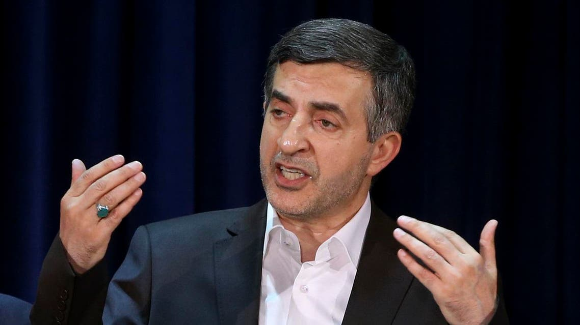 File photo of Esfandiar Rahim Mashaei, a close ally of former Iranian President Mahmoud Ahmadinejad, speaking with journalists, during a press conference. (AP)
