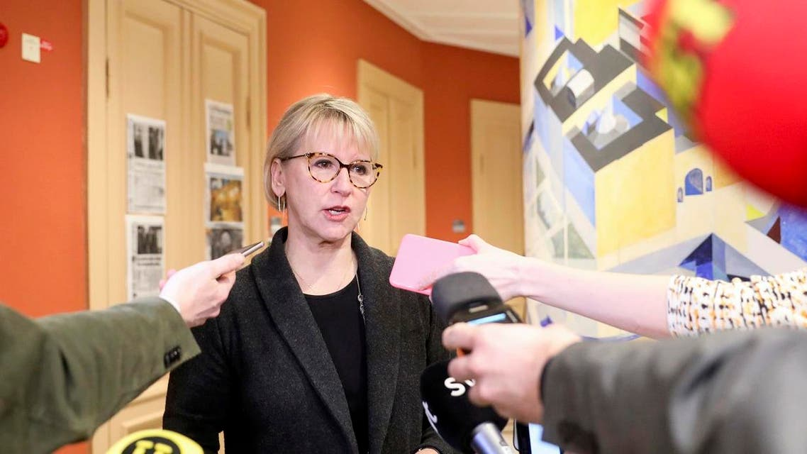 Sweden's Foreign Minister Margot Wallstrom talks to journalists, on March 16, 2018 in the Swedish house of parliment in Stockholm, to comment her meeting with the North Korean Foreign Minister the day before. (AFP)