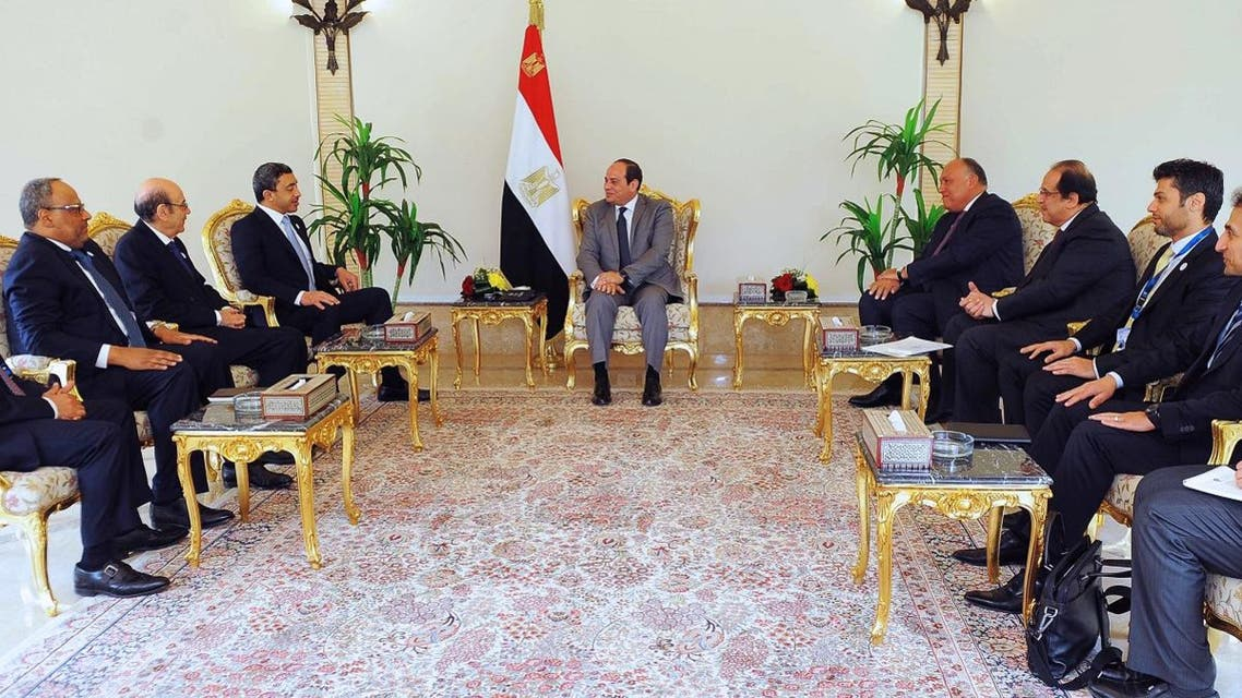 Egyptian President Abdel Fattah al-Sisi (C) meeting with Emirati Foreign Minister Sheikh Abdullah bin Zayed al-Nahyan (L) and his delegation at the Presidential Palace in the capital Cairo. (AFP)
