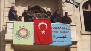 رفع العلم التركي في عفرين السورية