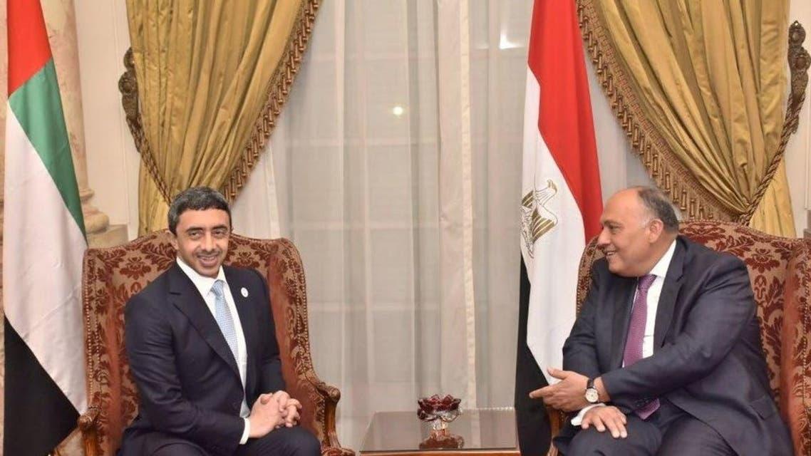 وزير الخارجية المصري سامح شكري ووزير الخارجية الإماراتي عبدالله بن زايد