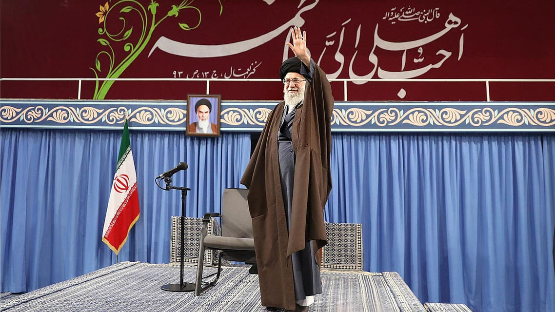 Supreme Leader Ayatollah Ali Khamenei gestures during a meeting with religious poets in Tehran March 8, 2018. (Reuters)