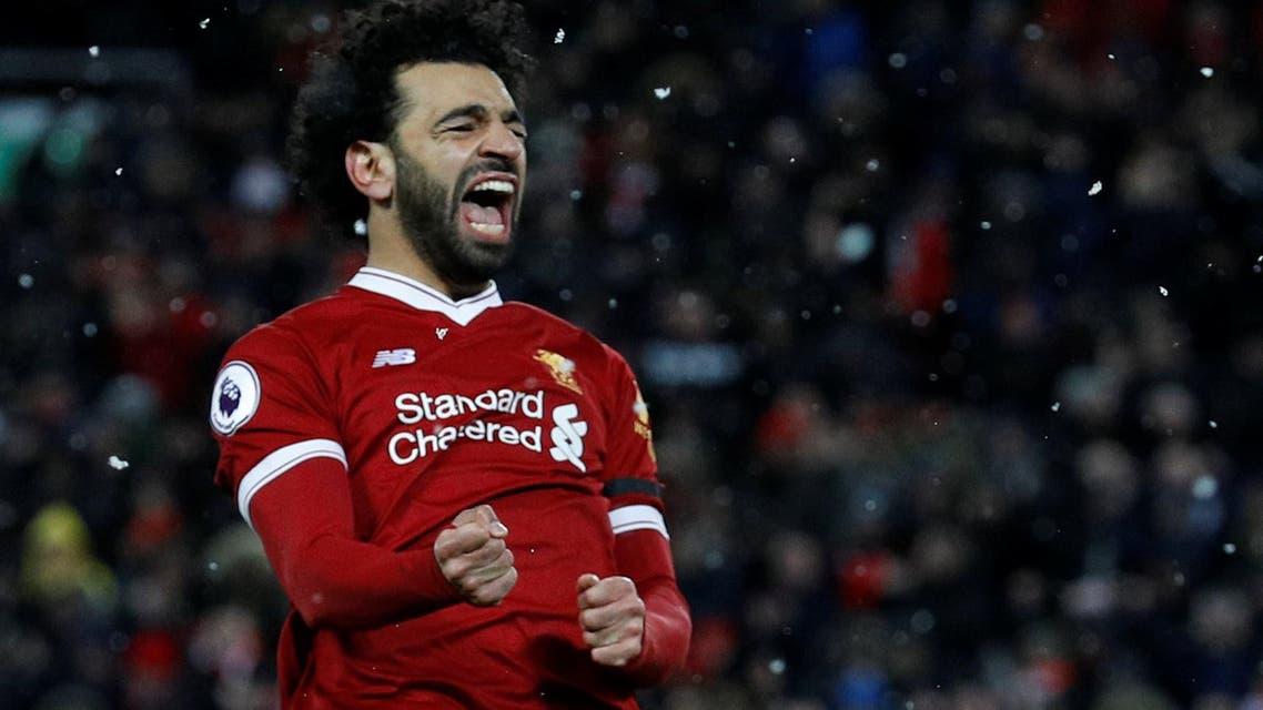 Liverpool's Mohamed Salah celebrates scoring their fourth goal. (Reuters)
