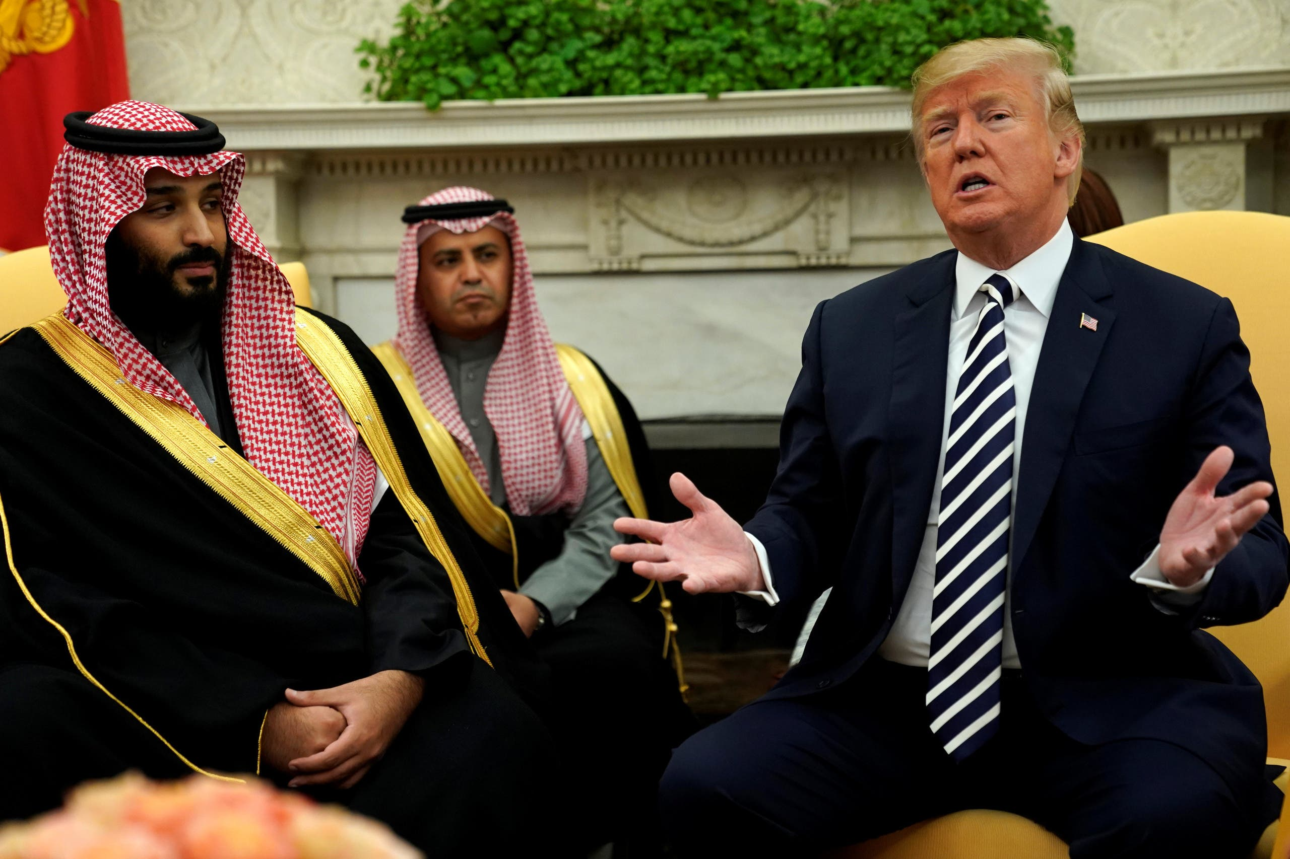 U.S. President Donald Trump and Saudi Arabia's Crown Prince Mohammed bin Salman sit down to a working lunch with their delegations at the White House in Washington, U.S. March 20, 2018. REUTERS/Jonathan Ernst