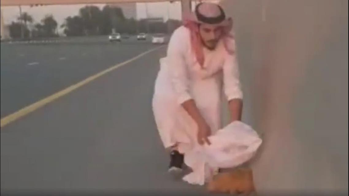 DUbai man saves cat (Screengrab)