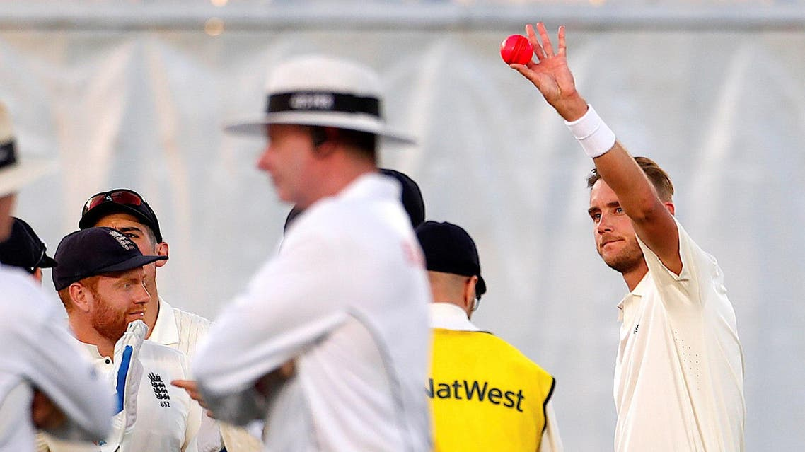 Stuart Broad reacts after taking his 400th test wicket after dismissing New Zealand's Tom Latham. (Reuters)