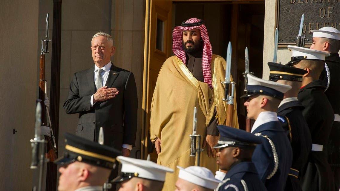 Defense Secretary Jim Mattis welcomes Saudi Crown Prince Mohammed bin Salman to the Pentagon. (AP)