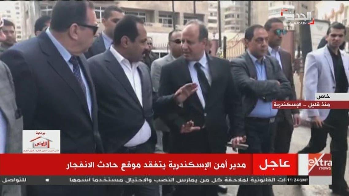 مدير أمن الاسكندرية يتفقد موقع حادث الانفجار