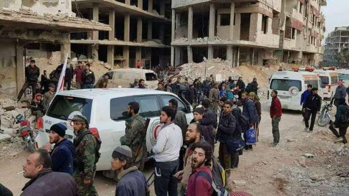 بدء المرحلة الثانية من اجلاء المقاتلين وعائلاتهم جنوب الغوطة