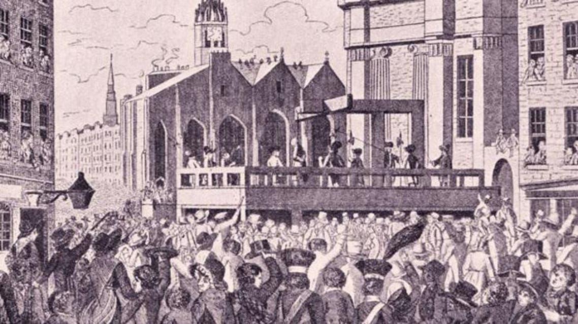 رسم تخيلي لعملية إعدام ويليام بورك