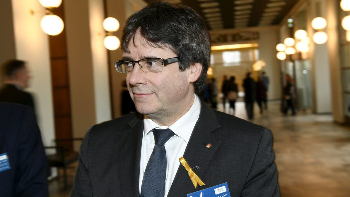 Former Catalan leader Carles Puigdemont visits Finnish Parliament in Helsinki, Finland March 22, 2018. Lehtikuva/Martti Kainulainen via REUTERS ATTENTION EDITORS - THIS IMAGE WAS PROVIDED BY A THIRD PARTY. NO THIRD PARTY SALES. NOT FOR USE BY REUTERS THIRD PARTY DISTRIBUTORS. FINLAND OUT. NO COMMERCIAL OR EDITORIAL SALES IN FINLAND.