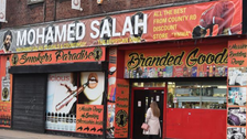Liverpool discount store displays unique 40ft banner to honor Mohamed Salah