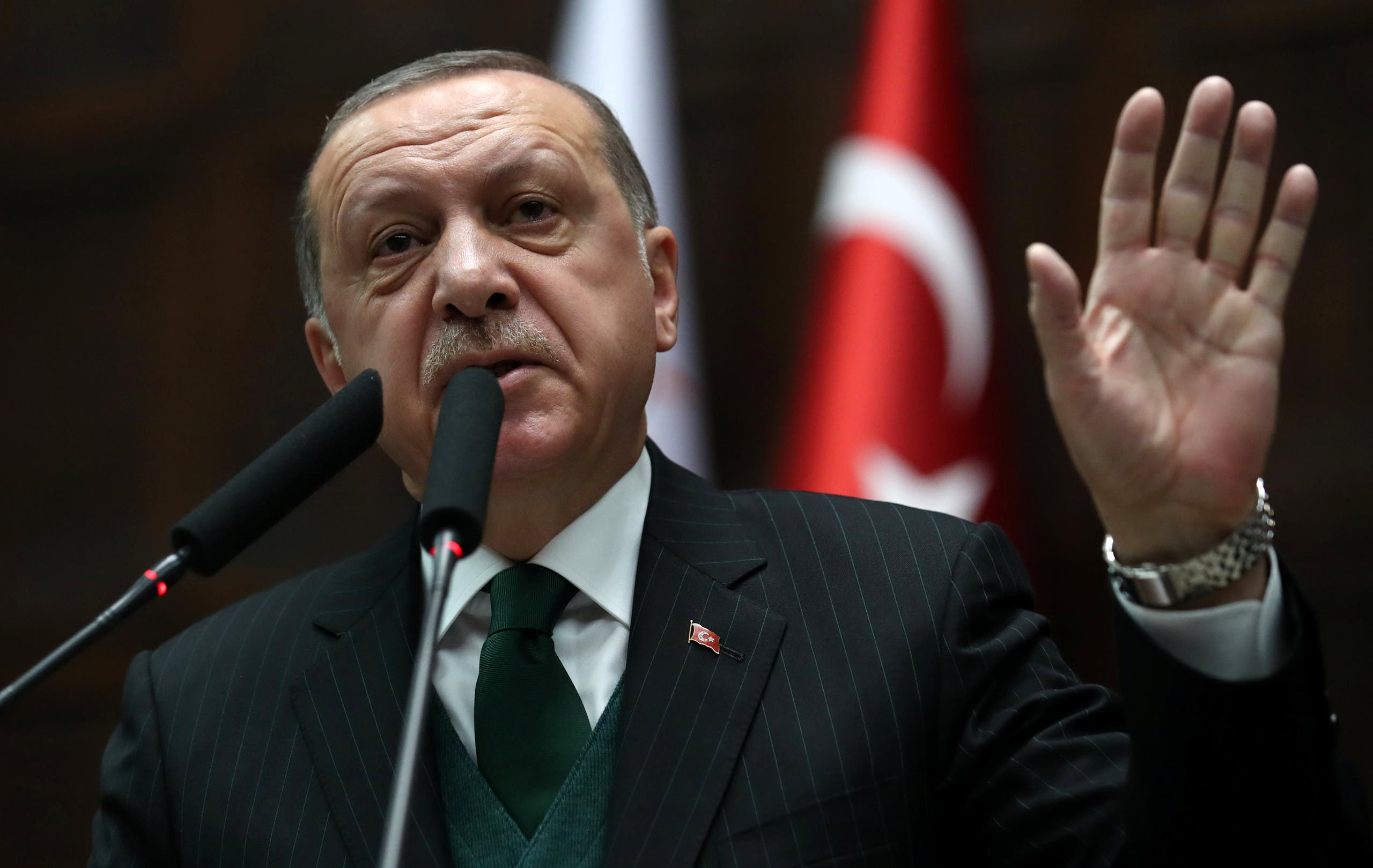 Turkish President Tayyip Erdogan speaks during a meeting in Ankara, Turkey March 9, 2018. Kayhan Ozer/Presidential Palace/Handout via REUTERS ATTENTION EDITORS - THIS PICTURE WAS PROVIDED BY A THIRD PARTY. NO RESALES. NO ARCHIVE.