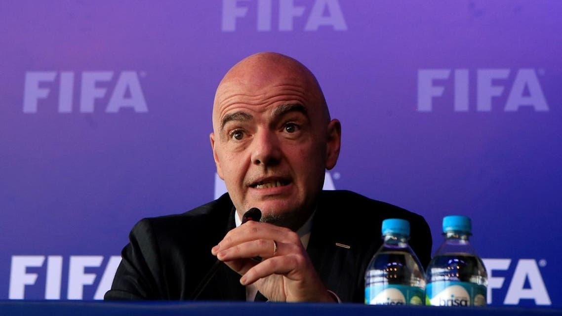 FIFA President Gianni Infantino speaks during a news conference after a FIFA Council meeting in Bogota. (Reuters)