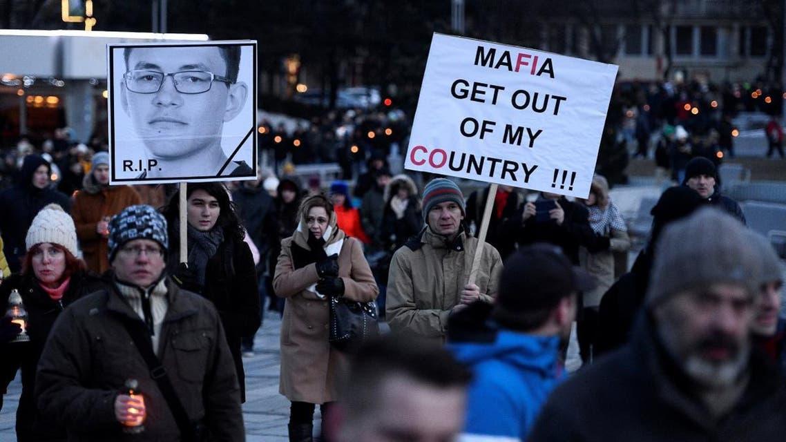 Participants march in honor of murdered Slovak investigative reporter Jan Kuciak and his girlfriend Martina Kusnirova in Bratislava, Slovakia. (Reuters)