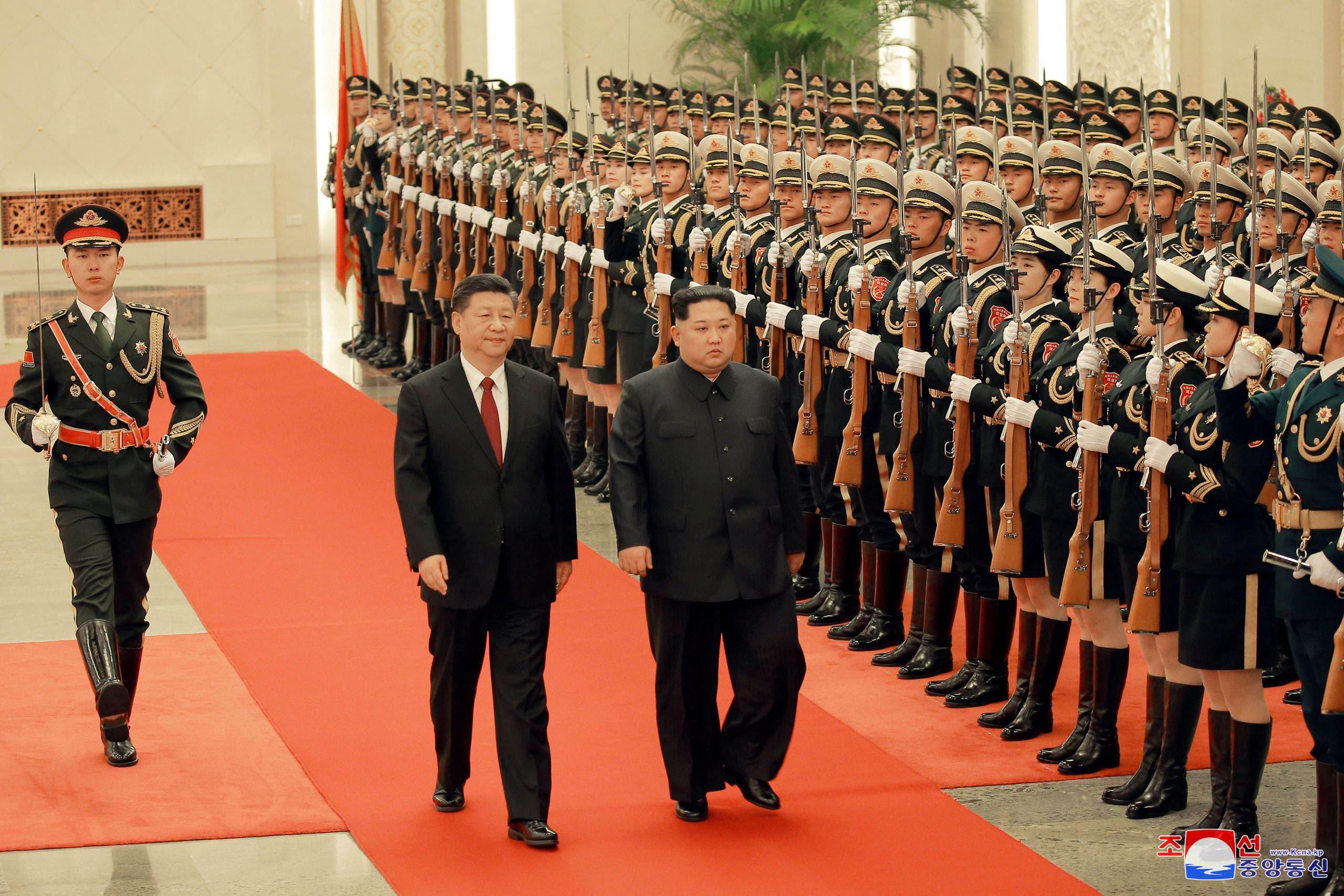 زعيم كوريا الشمالية حرس الشرف بكين