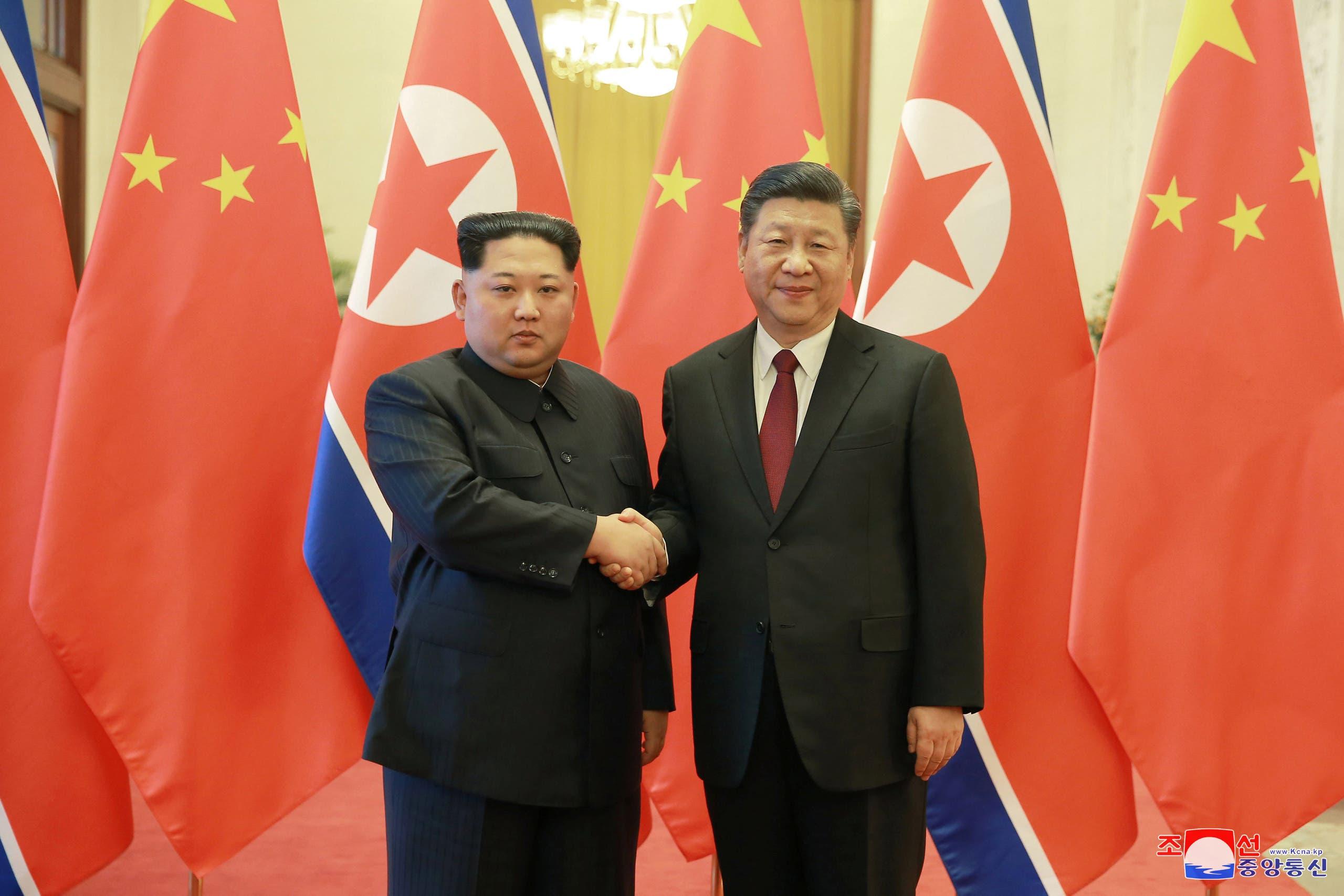 زعيم كوريا الشمالية مع الرئيس الصيني في بكين