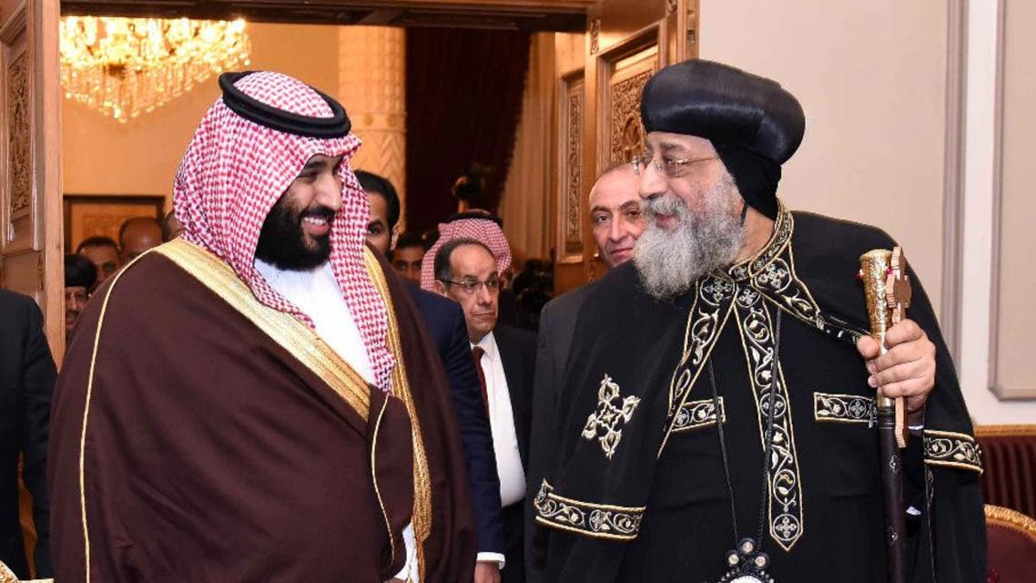 Pope Tawadros II, head of the Egyptian Coptic Orthodox Church, receives Saudi Crown Prince Mohammad Bin Salman in Cairo, Egypt March 5, 2018, in this handout picture courtesy of the Egyptian Presidency. The Egyptian Presidency/Handout via REUTERS ATTENTION EDITORS - THIS IMAGE WAS PROVIDED BY A THIRD PARTY