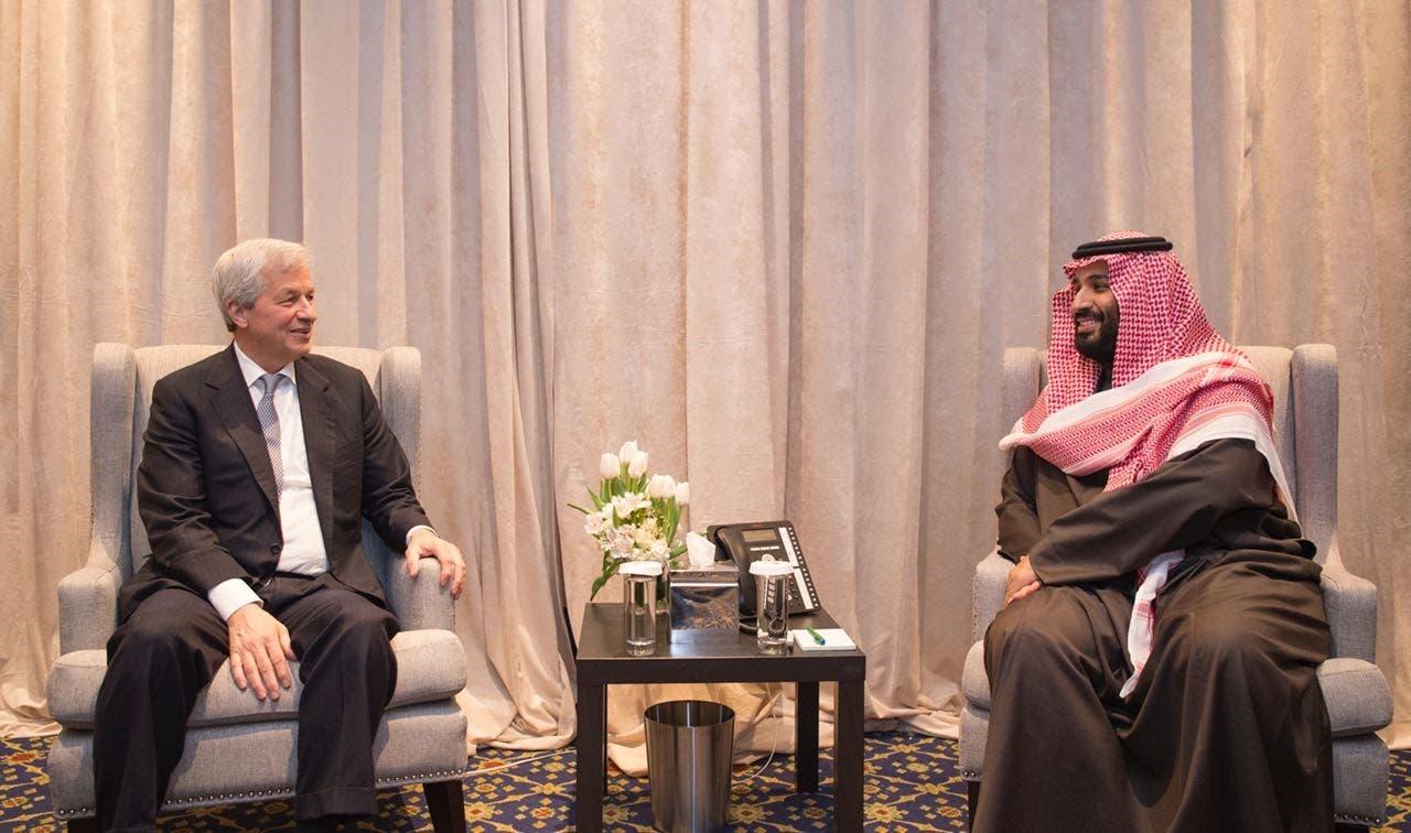محمد بن سلمان مع جيمس ديمون في نيويورك