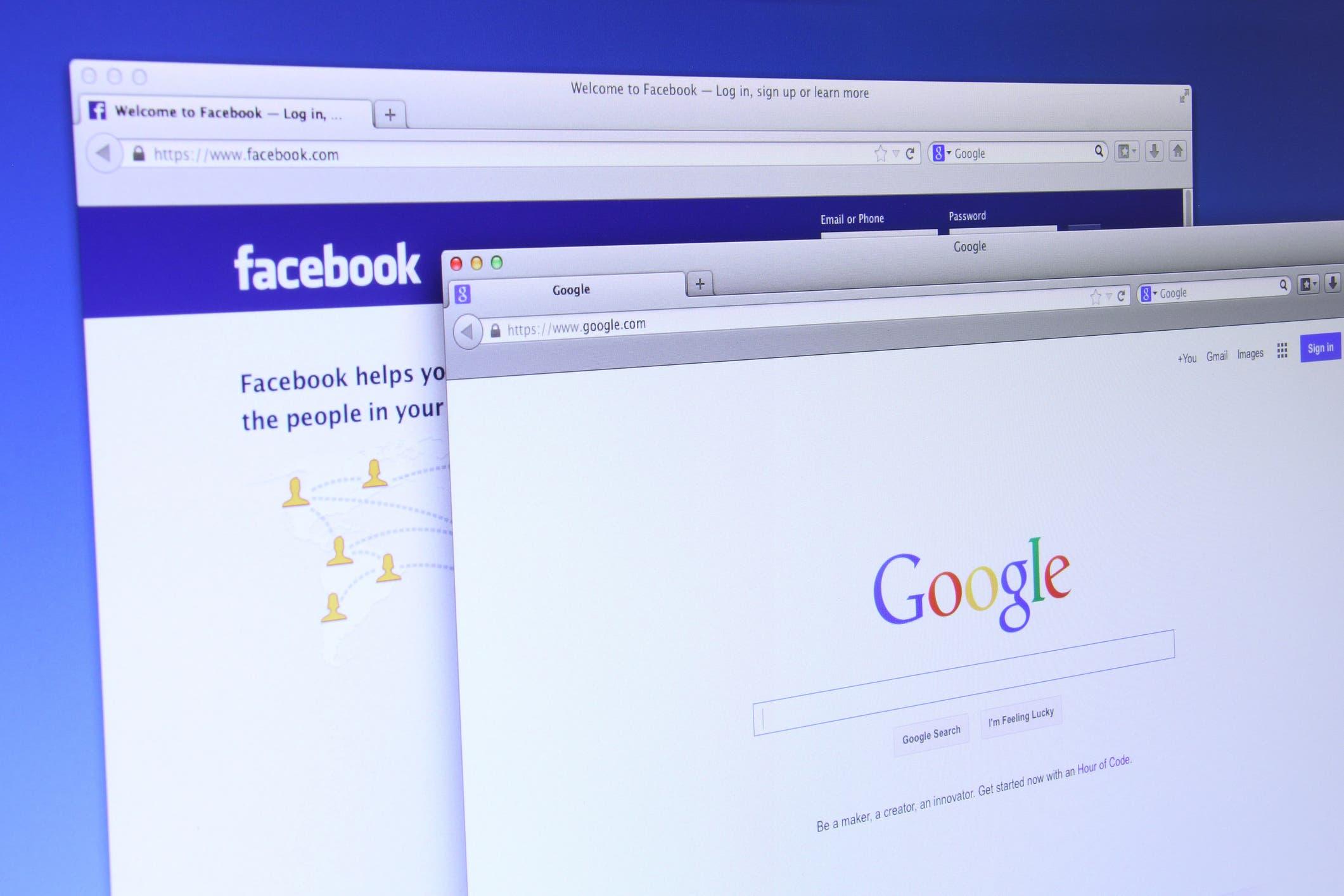 Google and Facebook websites. (Supplied)