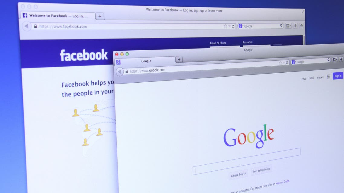 Google and Facebook website - Stock image...