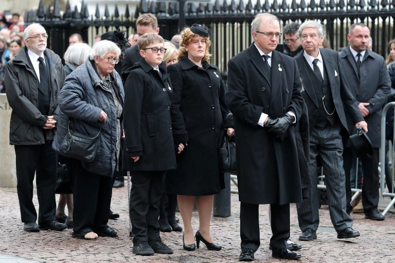 Family members, including Robert Hawking (3rd R), son of Stephen Hawking, arrive to attend the funeral of British scientist Stephen Hawking at the Church of St Mary the Great, in Cambridge on March 31, 2018. Friends, family and colleagues of British scientist Stephen Hawking gathered to pay their respects at his private funeral in Cambridge, where he spent most of his extraordinary life. Daniel LEAL-OLIVAS / AFP
