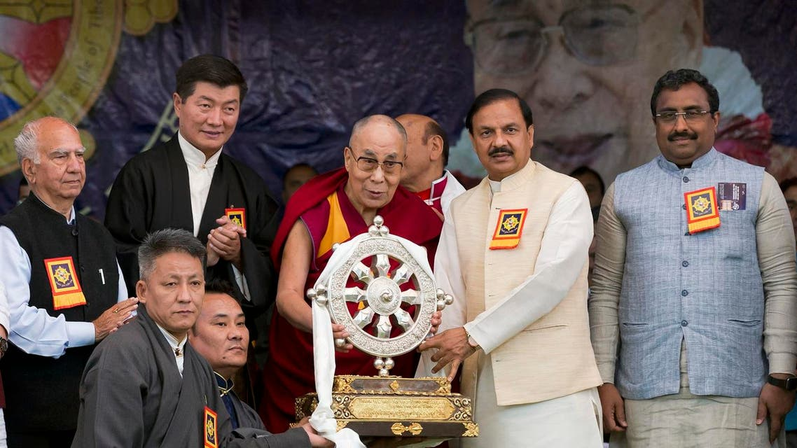Tibetan spiritual leader Dalai Lama at an event marking the beginning of the 60th year of his exile in India, in Dharmsala, India. (AP)