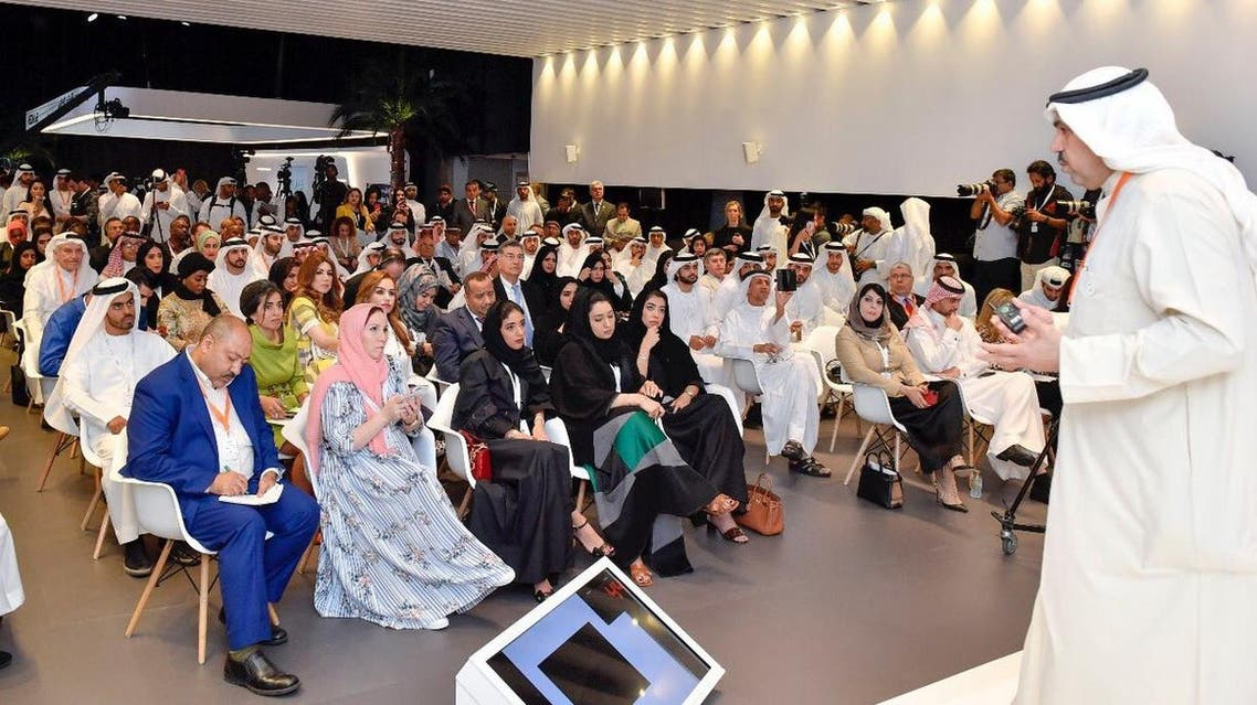 """Dubai Crown Prince attends a session by Dr. Fahad Al Shulaimi President of Gulf Security & Peace Form at the Arab Media Forum about """"The rise of lies & misconceptions"""". (Dubai Media Office)"""