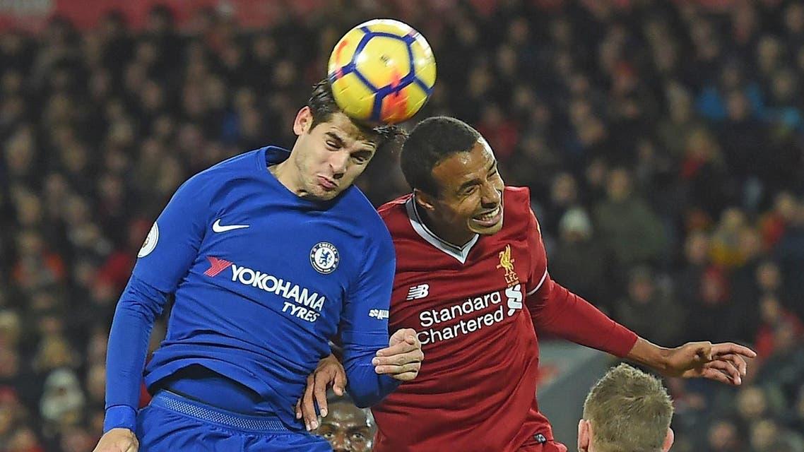 helsea's Spanish striker Alvaro Morata (L) vies with Liverpool's German-born Cameroonian defender Joel Matip during the English Premier League football match. (AFP)