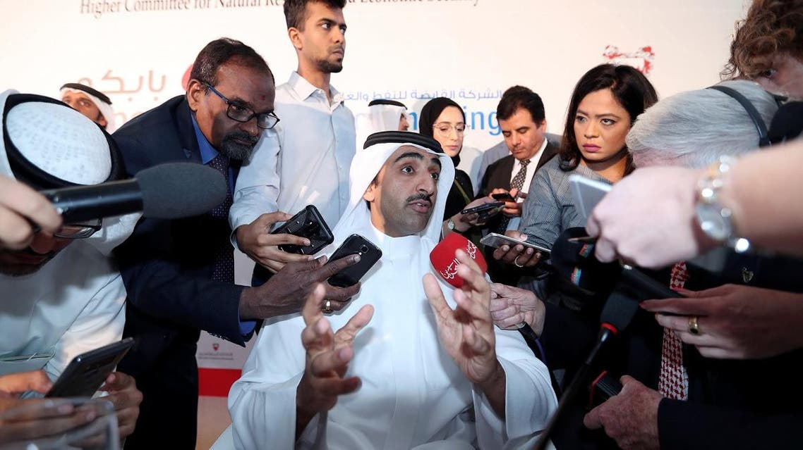 Bahrain's Oil Minister Sheikh Mohammed bin Khalifa al-Khalifa speaks to reporters during a press conference in Manama. (Reuters)