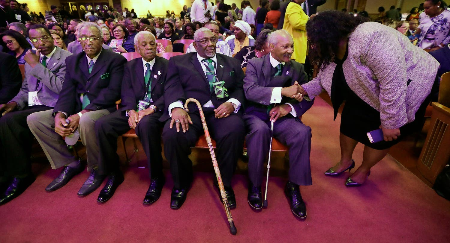 Five men who took part in the Memphis sanitation workers strike in 1968 wait for a ceremony to begin at the Mason Temple of the Church of God in Christ, Tuesday, April 3, 2018, in Memphis, Tennessee. (AP)
