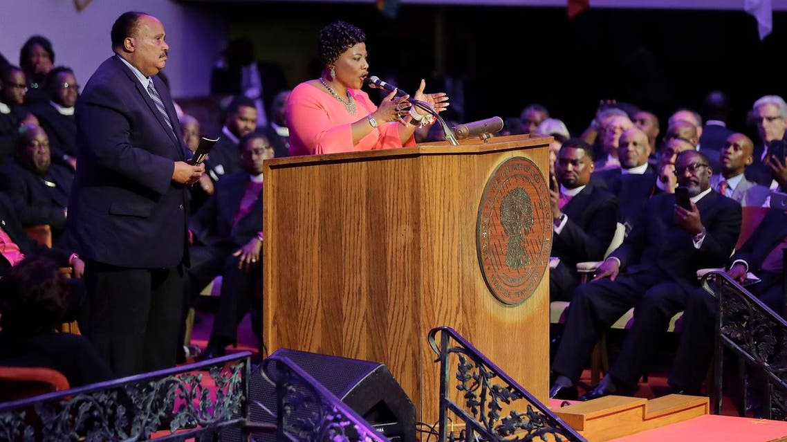 The Rev. Bernice King speaks at the Mason Temple of the Church of God in Christ as her brother, Martin Luther King III, listens Tuesday, April 3, 2018, in Memphis, Tennessee. (AP)